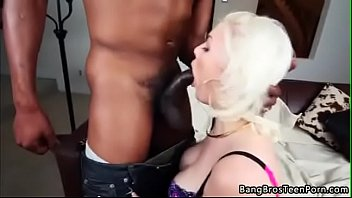 with some dick between action black gets chick feet white her Teenage cutie bent over chair for deep dicking
