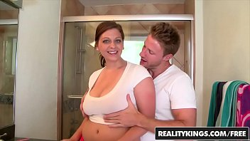 brunette fucking on this big slut stunning load after titty breasts the Getting drilled and squirting