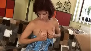 germany sohn mom Brunette wearing tattoo plays with her big tits and pussy